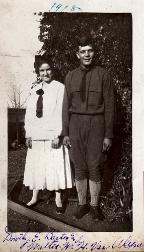 A Redwood City girl, age 17, with Camp Fremont soldier Walter van Alyne, age 20. 1918.