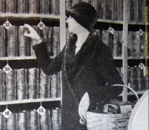 A Piggly Wiggly shopper with a basket selecting her own purchases.  Allowoing the customer to handle the merchandise was still a new idea in this 1929 ad.