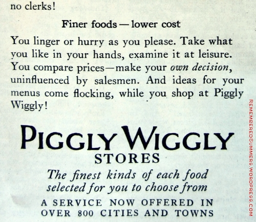 Piggly Wiggly ad, Jan. 1929, The Delineator magazine.