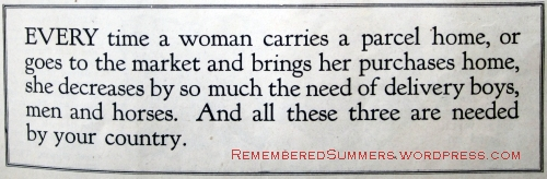 World War I official request, published in Ladies' Home Journal,. July 1917.
