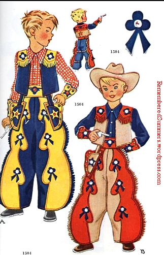 McCall pattern 1504 for a boy's western costume. May, 1950 catalog.