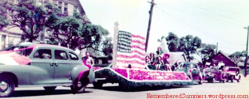 A flag at one end, a star at the other. Foresters' float, Redwood City, late 1940's.